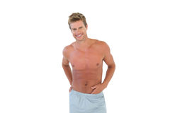 Shirtless attractive man gesturing Stock Photos