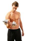 Shirtless bicep curl Royalty Free Stock Photography