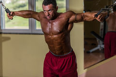 Shirtless body builder doing standing press white cable for chest Stock Photos