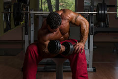 Shirtless bodybuilder doing heavy weight exercise for biceps Stock Photography