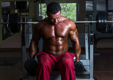 Shirtless bodybuilder doing heavy weight exercise for biceps Royalty Free Stock Photos
