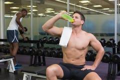 Shirtless bodybuilder drinking sports drink Stock Photography