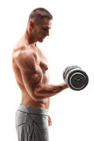 Shirtless bodybuilder exercising with a weight Stock Photo