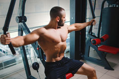 Shirtless bodybuilder exercising. Young athlete man on arm press machine on a gym background. Muscle building concept. A perfect muscular young man with a six royalty free stock photos