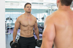 Shirtless bodybuilder lifting heavy black dumbbells looking in mirror Stock Image