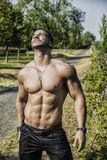Shirtless bodybuilder showing torso muscles, abs stock photo