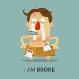 Shirtless broke Man with cardboard box. Cartoon character. stock illustration