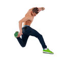 Shirtless dancer jumps Royalty Free Stock Photography