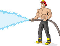 Shirtless firefighter. Shirtless, handsome Firefighter using a fire hose Stock Images