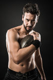 Shirtless football player Royalty Free Stock Photos