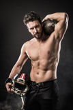 Shirtless football player with helmet Royalty Free Stock Images