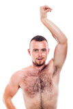 Shirtless hairy man posing. Young shirtless hairy man showing his body, isolated on white background Stock Photos