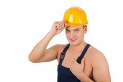 Shirtless jonge geïsoleerde aannemer - stock afbeeldingen
