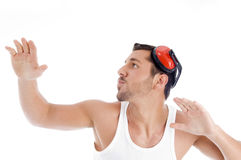 Shirtless male dancing on music Royalty Free Stock Photos