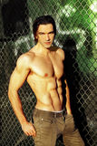 Shirtless male fashion model royalty free stock images