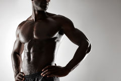 Shirtless male model with hands on hips Royalty Free Stock Photo