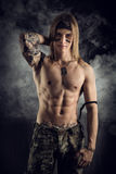Shirtless male model wearing a bandanna Stock Photos
