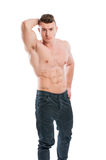 Shirtless male posing. Shirtless male with six pack posing isolated on white background Stock Images