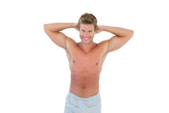 Shirtless man with hands on head Royalty Free Stock Photos