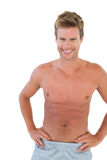Shirtless man with hands on hips Royalty Free Stock Photos