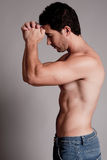 Shirtless man hold his hands on the head Royalty Free Stock Photo