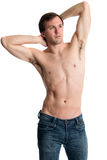 Shirtless Man in Jeans Stock Photography