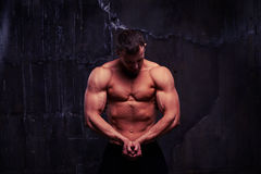 Shirtless man looking at his pumped biceps. Young man with great physique is standing shirtless and looking at his pumped biceps Royalty Free Stock Image