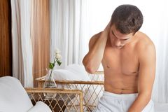 Shirtless Man With Neckpain Stock Image