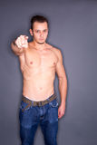 Shirtless man pointing Stock Photos