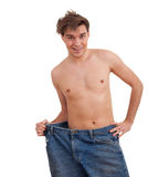 Shirtless man showing how much weight he lost Stock Photos