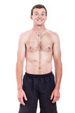 Shirtless man with toothy smile Stock Image