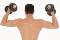 Shirtless man weights up back Stock Photo