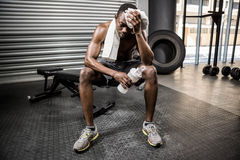 Shirtless man wiping sweat with towel. At the crossfit gym royalty free stock images