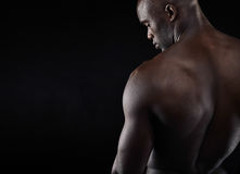 Shirtless manlig modell med copyspace fotografering för bildbyråer