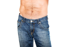 Shirtless men in jeans trousers Royalty Free Stock Image
