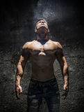 Shirtless Muscle Man Looking Up Into Bright Overhead Light Royalty Free Stock Image