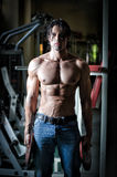 Shirtless muscular athlete working out in gym Royalty Free Stock Photo