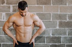 Shirtless muscular bodybuilder at a gym stock photo