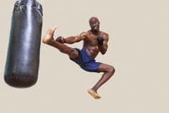 Shirtless muscular boxer kicking punching bag Stock Images