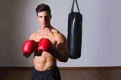 Shirtless muscular boxer with punching bag in gym Stock Photos