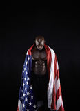 Shirtless muscular man with American flag Stock Photo