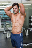 Shirtless muscular man posing in gym Stock Photo