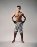 Shirtless muscular man posing in sweatpants. Portrait of shirtless muscular man posing in sweatpants. Strong young guy standing on grey background royalty free stock photo