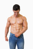 Shirtless muscular man stock images