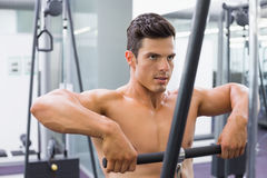 Shirtless muscular man using biceps pull up in gym Royalty Free Stock Photography
