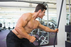 Shirtless muscular man using resistance band in gym Royalty Free Stock Images