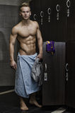 Shirtless muscular young male athlete in gym Royalty Free Stock Photography