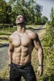 Shirtless muskler för kroppsbyggarevisningtorso, abs Arkivfoto