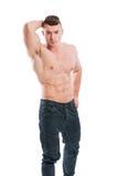Shirtless posera för man Arkivbilder