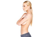 Shirtless Pretty Woman in Side View Stock Images